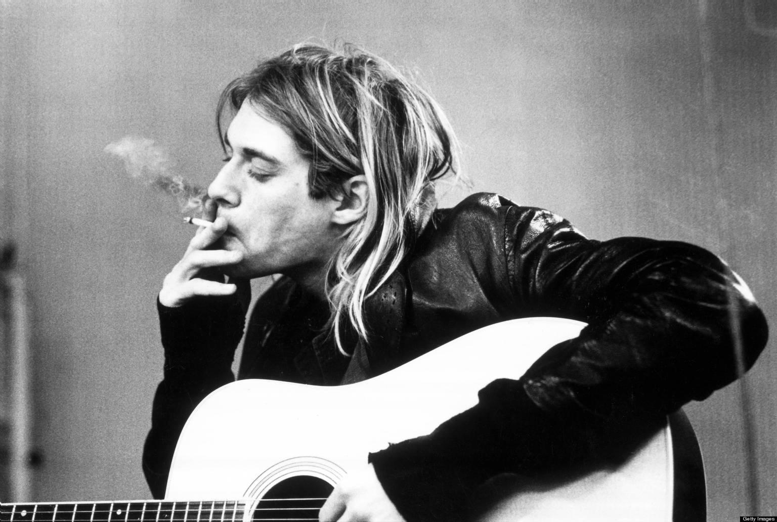 NETHERLANDS - NOVEMBER 25:  HILVERSUM  Photo of Kurt COBAIN and NIRVANA, Kurt Cobain recording in Hilversum Studios smoking cigarette  (Photo by Michel Linssen/Redferns)