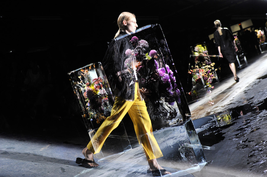 Flowers frozen in blocks of ice dotted the runway at Dries Van Noten