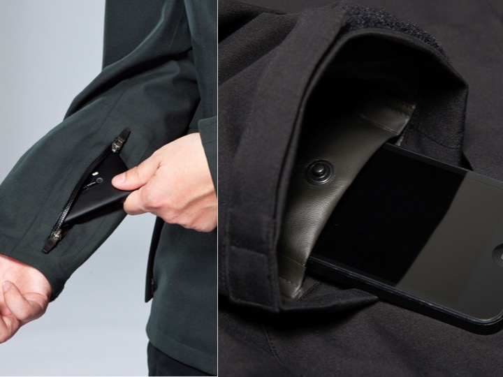 袖子內藏口袋設計,可以裝入智慧型手機,允許裝著者快速彈出所需物品功能。