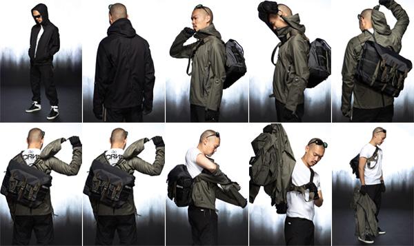 讓穿著者輕鬆穿上或是移除外套,不需先卸下身上的包包。
