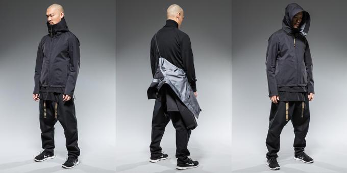 配有附接帶/吊帶功能的夾克。