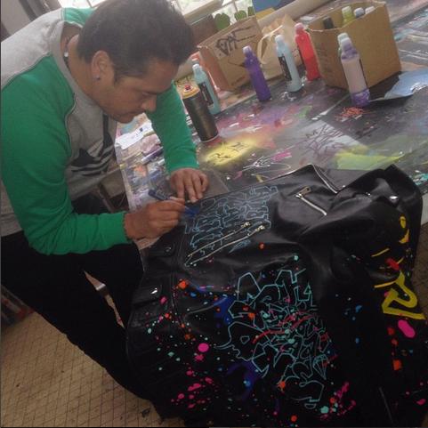 The graffiti jacket made by Kongo