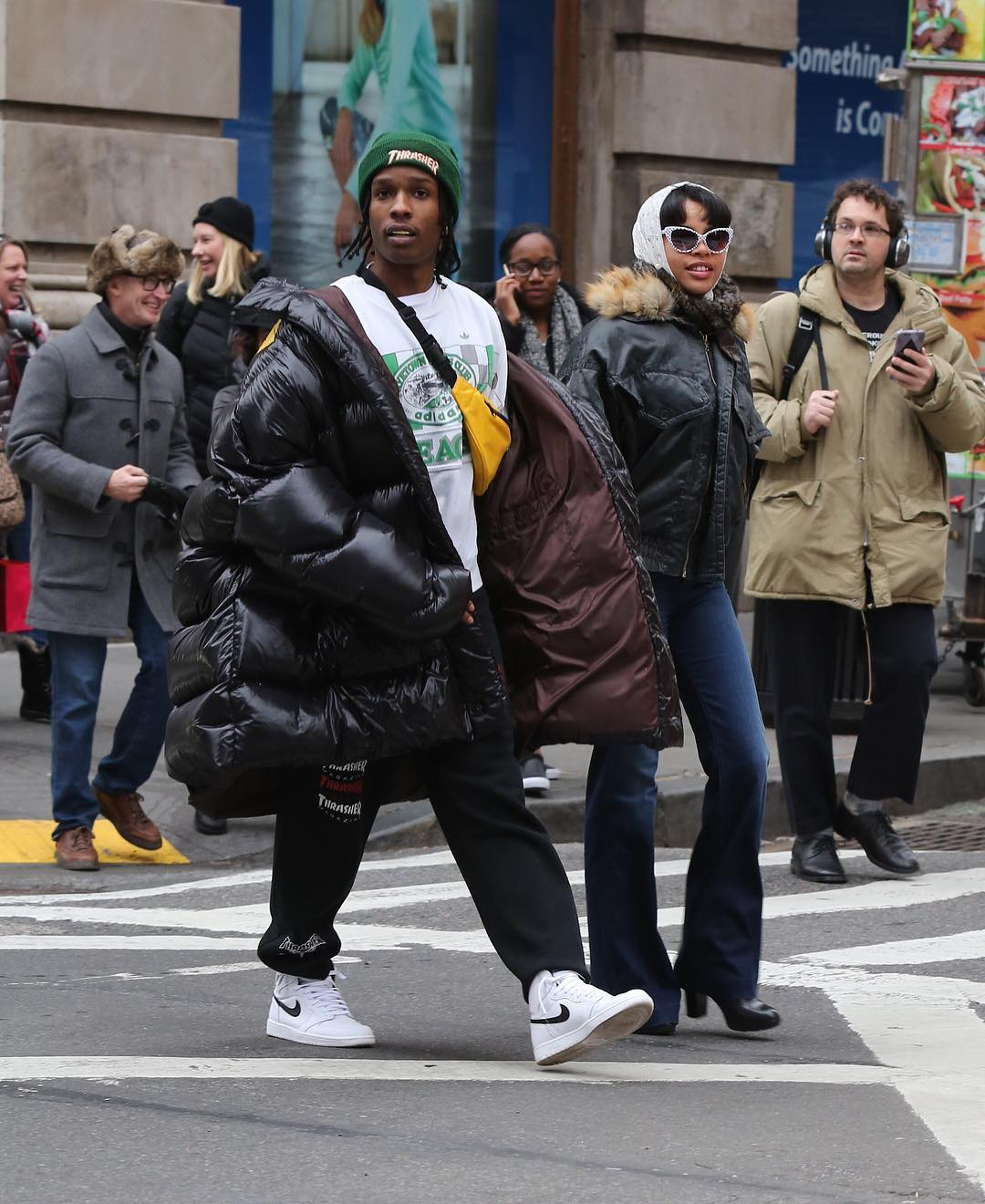 ASAP-Rocky-Raf-Simons-coat-Thrasher-sweatpants-Adidas-tee-Nike-sneakers