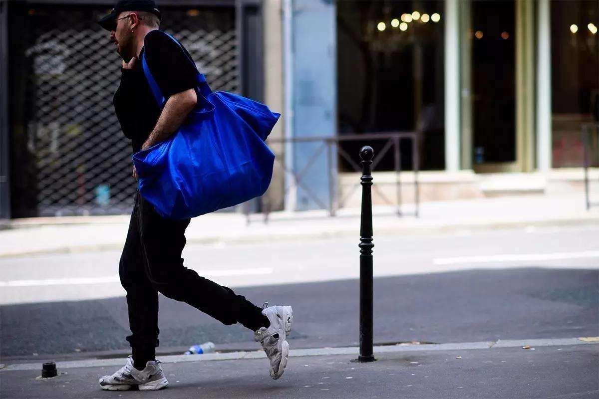 Demna Gvasalia with Balenciaga bag