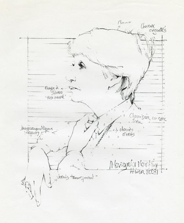 Martin Margiela 畫的 Mary Prijot 肖像畫 via MOMU