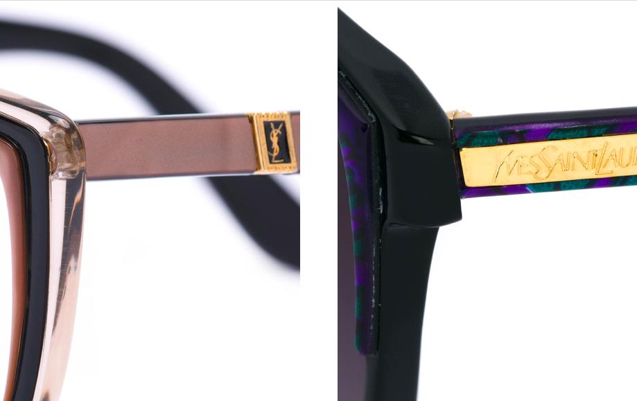 從farfech網站上販售的復古YSL太陽眼鏡可見早期低調的金屬標牌設計,左圖為Circa 1980 YSLRNT150的鏡腳,右圖為1970年推出的YLS180EG光學鏡框