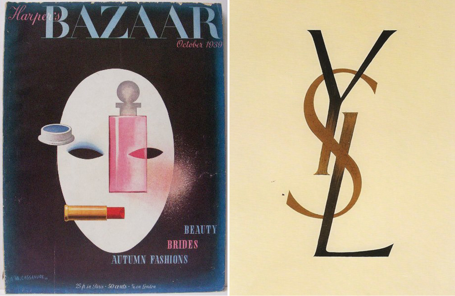 (左圖)Harper's Bazaar October 1939 by A.M. Cassandre. (右圖) Yves Saint Laurent logo by Cassandre, 1961.
