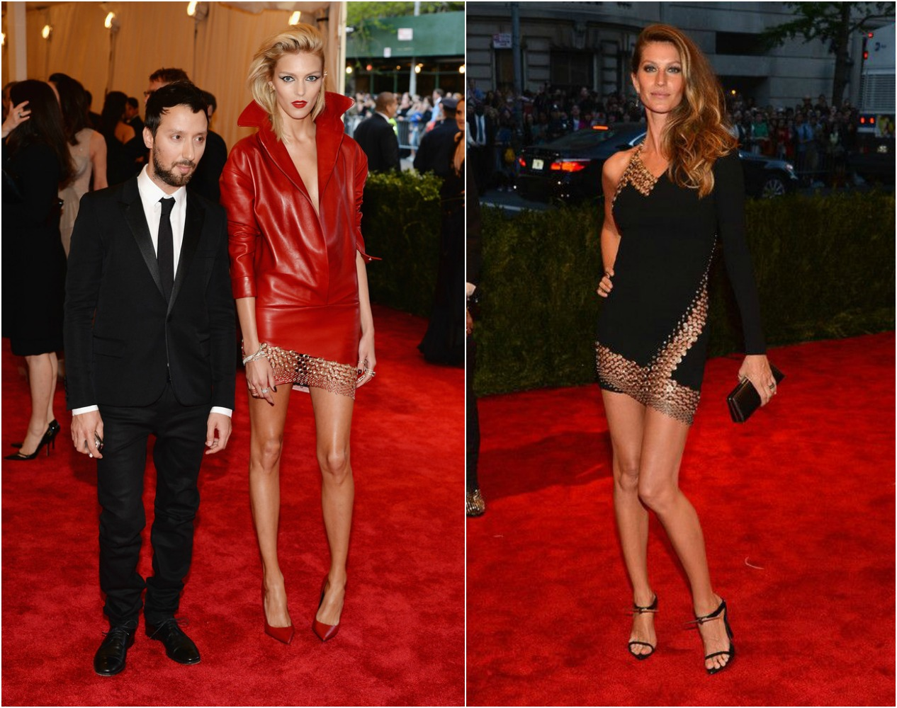 (左)Anja Rubik 與 Anthony Vaccarello 2014 Met Gala;(右)Gisele Bundchen Met Gala 2013