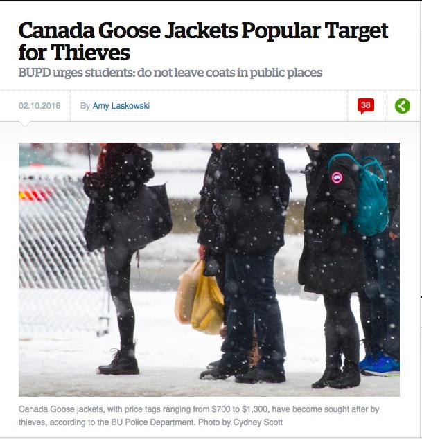 波士頓大學在 2016 年曾警告學生身上加拿大鵝 Canada Goose 被盜竊