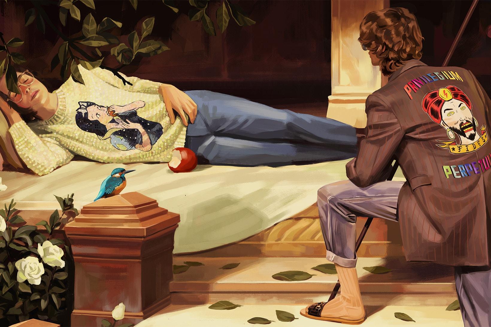 結合了《睡美人》與《白雪公主》(藍鳥是重點)兩個經典童話故事