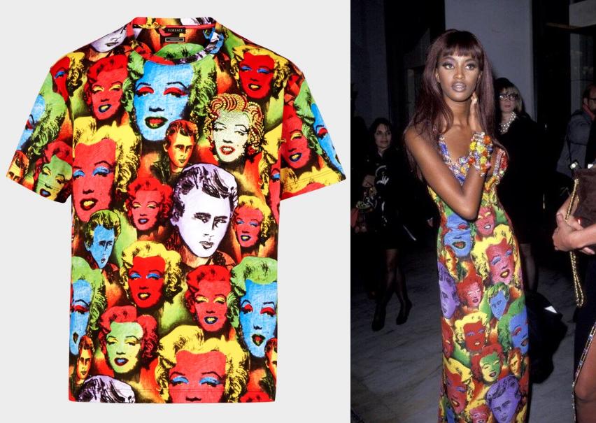 左 VERSACE 致敬復刻 T 恤, 右 VERSACE 1991