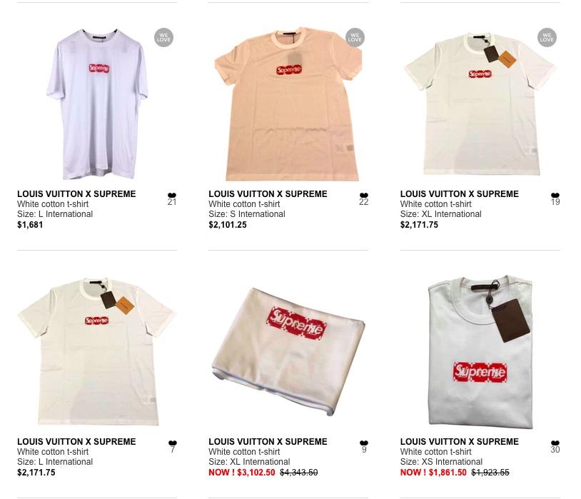 如今品牌要紅?必須得善用韋伯倫效應。放眼望去,Louis Vuitton x Suprem 聯名 Bogo T 恤在知名二手網 Vestiaire 上所販售的價格都超過 1,500 美元的高價,這個售價已將近是原價的 4 倍之數,而