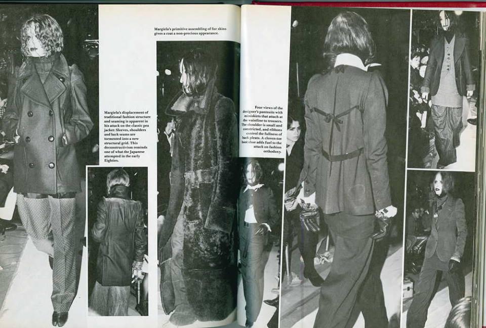 Bill Cunningham 在 1989 年 9 月《Details》雜誌上寫道:「Martin Margiela,前 Gaultier 的助理,在他同名品牌第二場秀中,為 90 年代帶來了全然不同的時尚觀:一個垮掉的一代(beatnik)、存在主義的復興.... 這些服裝的構造意味著解構主義的運動(deconstructivist movement),其設計彷彿受到攻擊、縫線置換、讓布料非華麗化,上述皆暗示了品牌其優雅頹廢的時尚。」