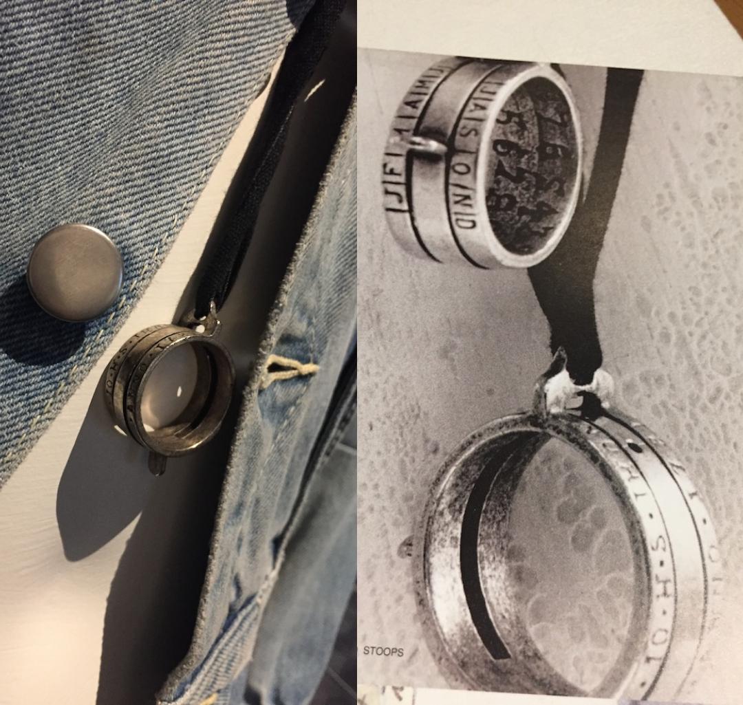 模特兒的項鍊是重置 1720 年普魯士僧侶所製造的日晷