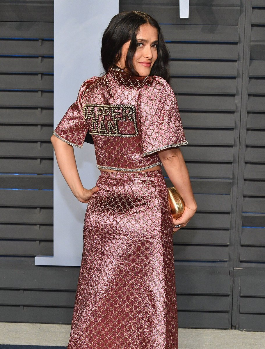 Salma Hayek in Gucci x Dapper Dan