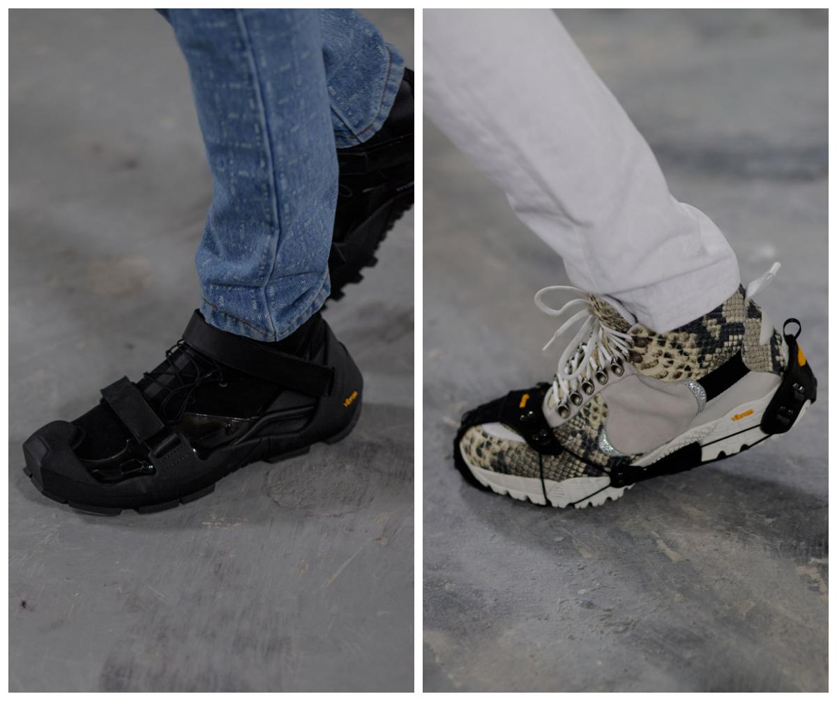 Nike x Matthew Williams 的聯名鞋款 S19-ALYX-ANE,Nike Free 科技鞋底結合由義大利橡膠 Vibram 製造的(可拆卸式)外殼,這不是一種科技上的突破,但卻表明了他那惜物之情,猶如他在和 Mackintosh 聯名時告訴《GQ》那樣:「你開始會欣賞那些能做出獨一無二事物的人。」