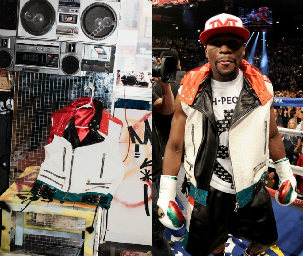 Floyd Mayweather 穿著 2014 年由 Dapper Dan 所做的衣服出席拳賽