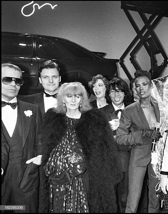 "Karl Lagerfeld, Sonia Rykiel, Kenzo, Grace Jones at a party for the ""Palace"" fifth anniversary, Paris, 1983. (Photo by Bertrand Rindoff Petroff/Getty Images)"