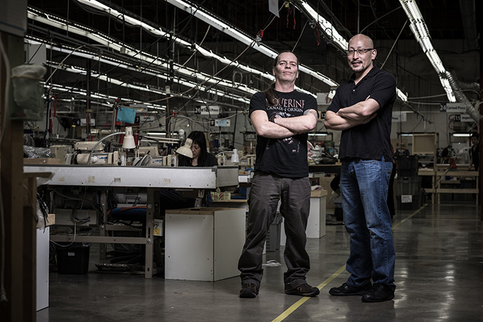 Dave Gardiner and Bill Tso at the Arc'teryx Factory in Burnaby