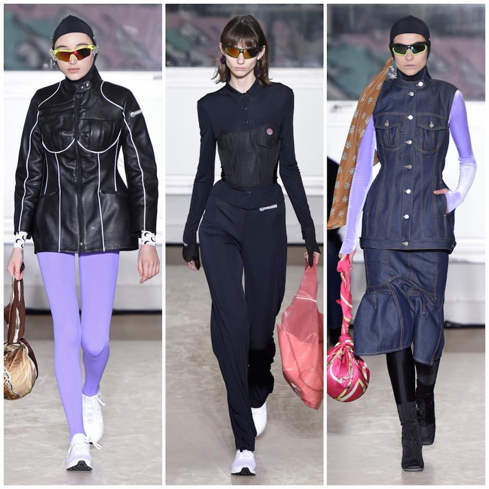 「系列中的實用情緒暗示了保護主義,」Marine Serre 告訴《紐約時報》,點出了其他日常的風格,像是帶有襯墊的機車皮夾克,以及如 Dior 經典 Bar Jacket 輪廓的單寧外套,「我想把女性輪廓帶回衣著上,但我完全不想用可愛的方式去呈現。」